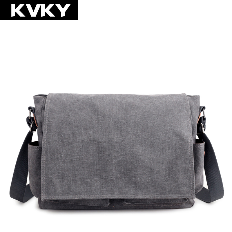 KVKY Vintage Men Canvas Bag Solid Shoulder Bags High Quality Casual Handbags Crossbody Bag Men Messenger Bags Travel Male Bolsas 2017 canvas leather crossbody bag men military army vintage messenger bags large shoulder bag casual travel bags