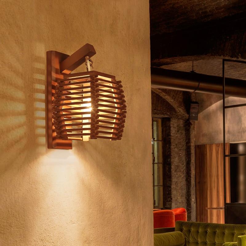 Işıklar ve Aydınlatma'ten Duvar Lambaları'de Yaratıcı vintage çin bambu duvar lambası E27 duvar aplik ışık koridor koridor otel mutfak yemek odası restoran cafe ışık