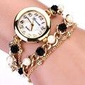 Брендовые часы Geneva, украшения с цепочками и кристаллами, женские брендовые часы с розовым жемчугом,  новинка 2015