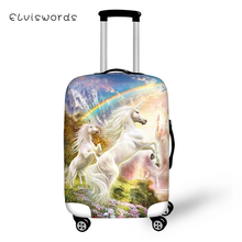 ELVISWORDS Cartoon Protective Suitcase Cover Unicorn Horse Print Pattern Elastic Dust-proof Waterproof Luggage Accessories