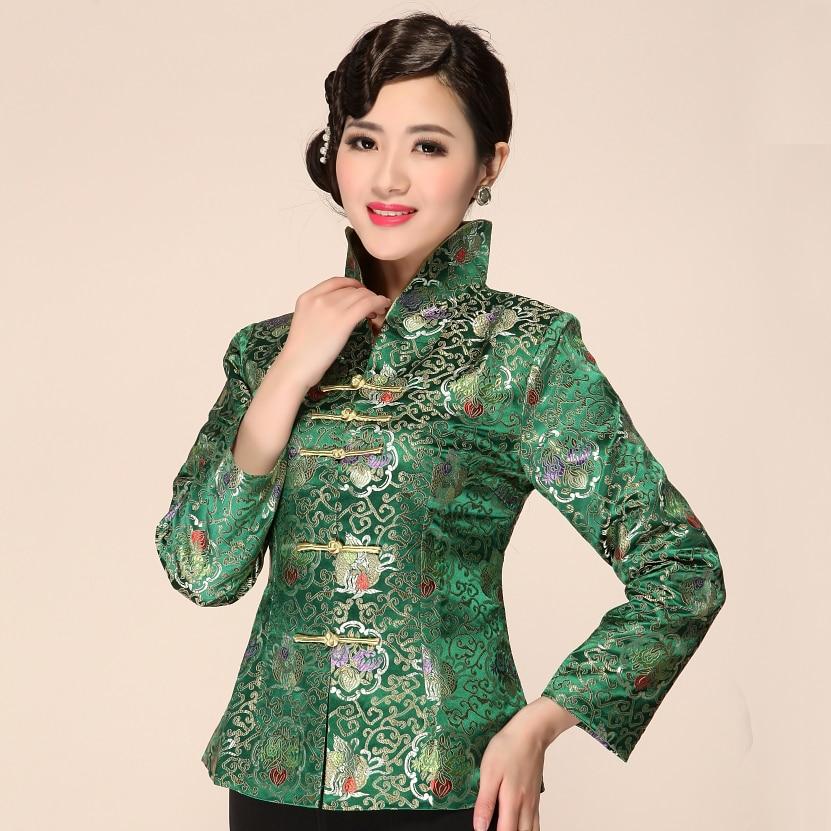 High Quality Green Chinese Women Traditional Satin Jacket Classic Elegant Slim Coat Flower Outwear Size M L XL XXL XXXL 2332