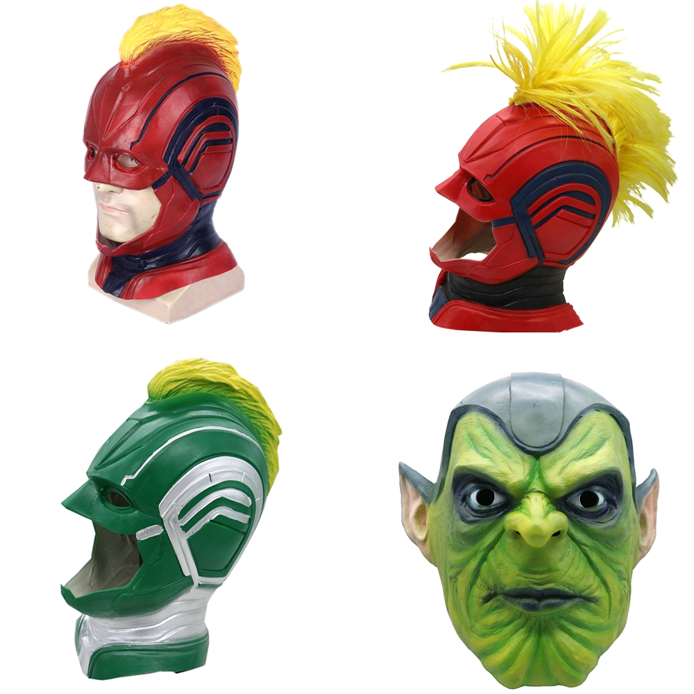 The Avengers Captain Marvel Masks Latex Adult Women Carol Danvers Cosplay Superhero Helmet Halloween Party Costume Props