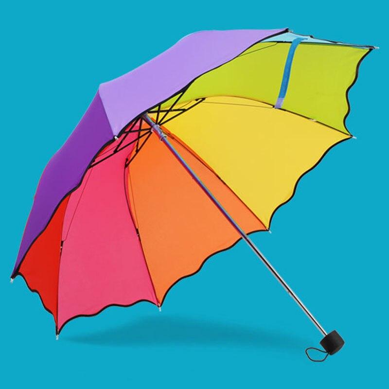 Crianças Guarda-chuva Colorido Parasol Rainbow Dobrável Proteção Guarda das Crianças Crianças Chuva guarda chuva paraguas parapluie