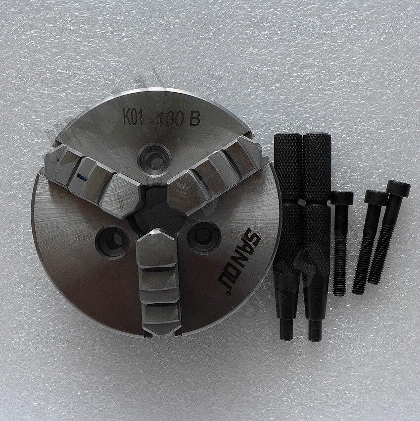 K01-100B 100mm 3 mâchoires tour mandrin manuel auto centrage 3xM6 filetage montage intérieur extérieur mâchoires 1PK accessoires pour tour