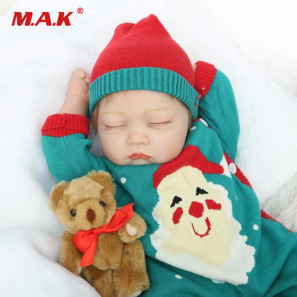 55cm 22 Inches Special Christmas Gift Baby Reborn Dolls Silicone Cotton Dolls Newborn Sleeping Bebe Toys for Children Kids npkdoll 22 inch 55cm silicone reborn baby dolls with implanted mohair good price playmate christmas gift for children