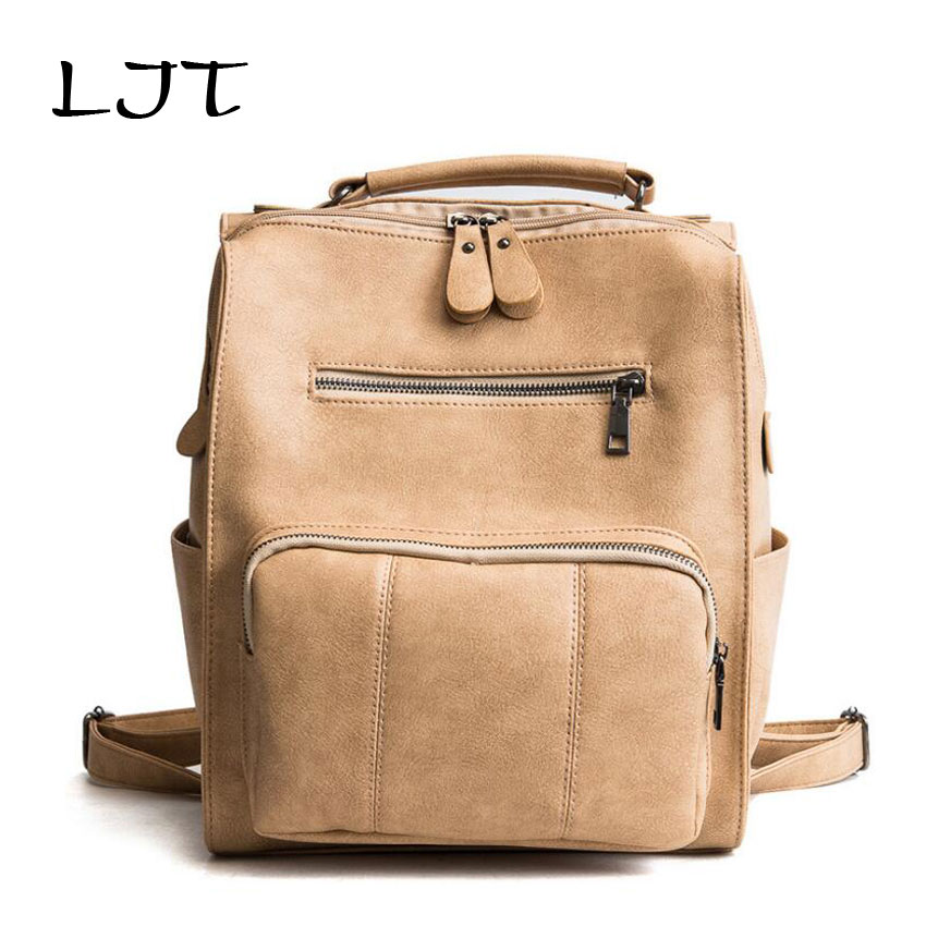 LJT 2018 New Women Soft PU Leather Shoulder Bag College Wind Large Capacity Female Backpack Student Schoolbag for Teenager Girls ljt 2017 winter creative personality women shoulder bag 3d stereo cool dog pu leather cute cartoon backpack travel