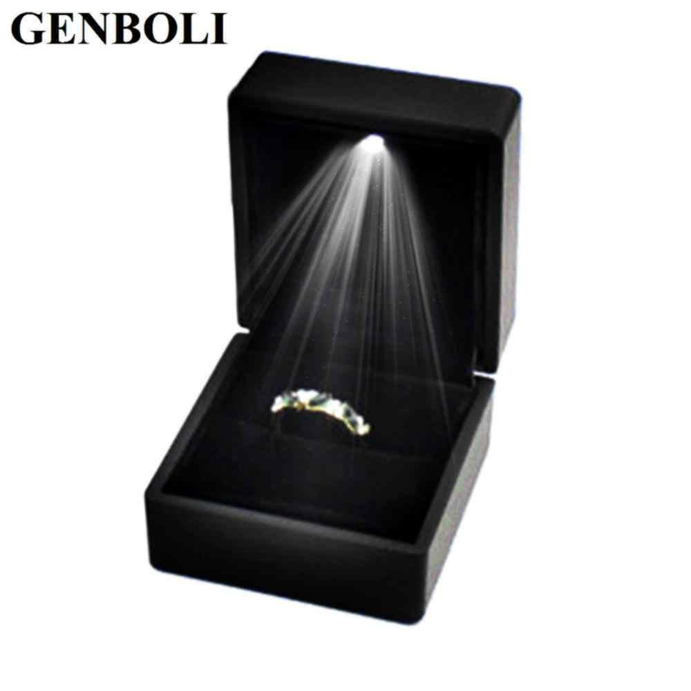Wedding Ring Box.Organizer Storage Led Lighted Wedding Ring Boxes Propose Surprise Earring Ring Gift Box Wedding Engagement Ring Jewelry Display