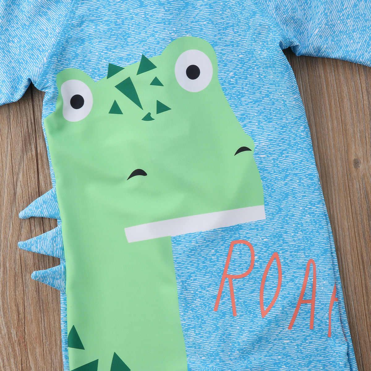 2018 لطيف الأزرق بيبي بوي فتاة طفل الديناصور طباعة تصفح ملابس السباحة بذلة مع قبعة سستة لطيف حلي وتتسابق