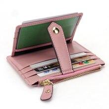 Billetera delgada de cuero para hombre y mujer, Mini billetera con cremallera para tarjetas, monedero corto Vintage, Bolso pequeño