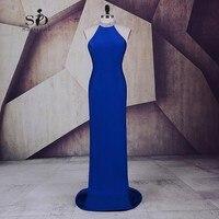 Вечернее платье Королевский синий платье для выпускного вечера Холтер Кристаллы Пром Платья для вечеринок элегантные пикантные торжестве