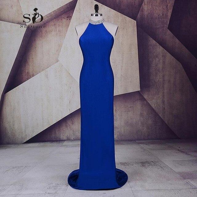a5f57002c Vestido de noche azul real vestido de fiesta Halter cristales prom party  Vestidos elegante vestido formal