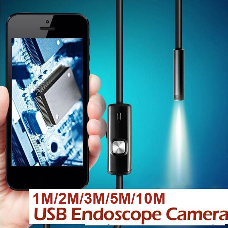 1/2/3/5/10 M Waterproof USB Endoscope HD Camera 7mm 6LED IP67 USB Handheld Working Inspection Borescope Tool For Android PC