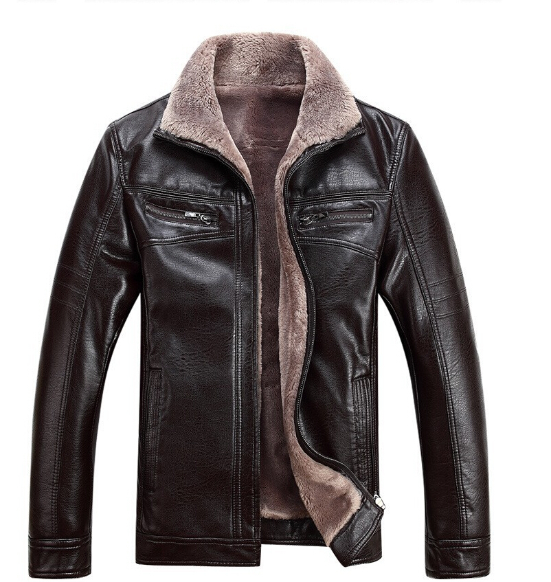 Winter Leather Jacket Men Extra Large Size Clothes