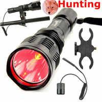 戦術レッドライト懐中電灯クリーxpe 300メートル長距離豚狩猟懐中電灯1モードトーチでガンマウントとリモート制御