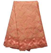 Latest style Beautiful peach color African cotton lace fabric high quality Fashion swiss voile lace fabric for party dresses