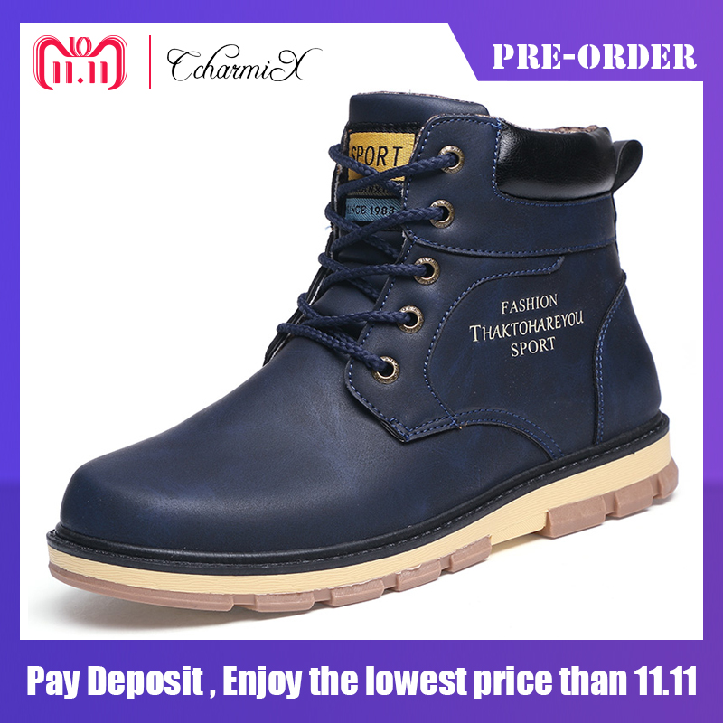 CcharmiX Snow Men Boots Pu High Quality Winter Working Men Boots Lace Up Waterproof Warm Fur Ankle Boot Man Shoes Big Size 39-46 high quality men boots 2017 new arrivals waterproof thick plush warm men winter shoes lace up ankle boots size 39 46