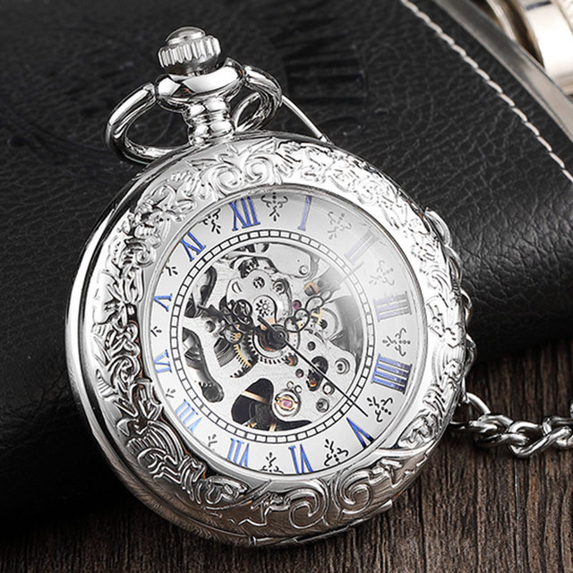 Elegant Mens Mechanical Pocket Watch Retro Ladies Silver Caved Flip Case Fob Cha