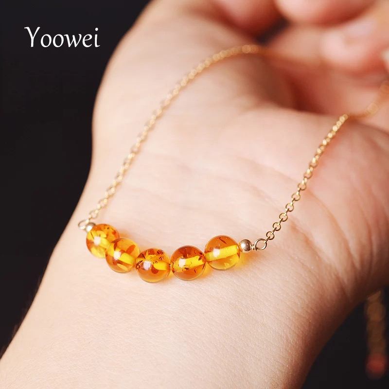 Yoowei Baltic Natural Amber Necklace diy Simple Styles Vintage Amber Jewelry Chic Clavicle Chain Tiny Women's Necklace Wholesale chic bells necklace