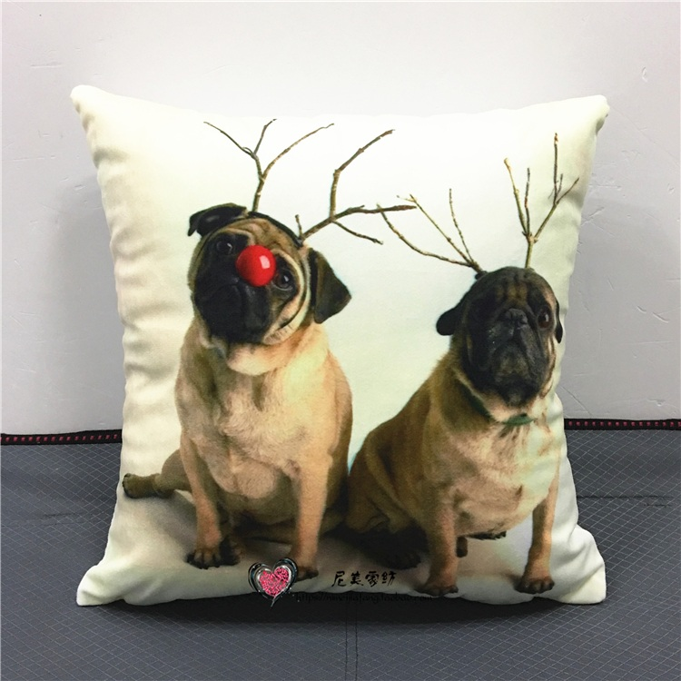 US $4 96 29% OFF|Bull Terrier Cushion Covers Pug Labrador Marine Sailor Dog  With Hat Love Pillow Cases 40X40cm Bedroom Decor-in Cushion Cover from