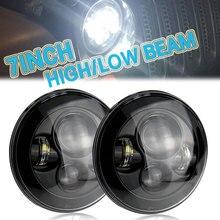 2pcs Led Headlight 7 Inch 75W 35W Hi-Lo beam 5000lms 3000lm  Moto Bike Jeep Wrangler 1997-2016 Lada Niva Offroad 4x4