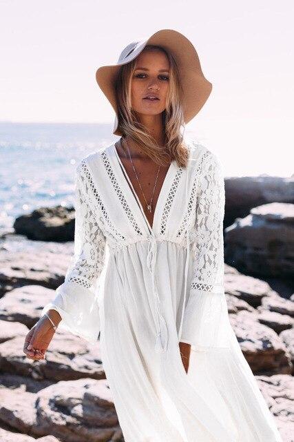 d8af9fc184e3 RQOKIA 2019 nueva moda Playa Mujeres traje de baño playa cubierta bikini  vestido para el verano ups pass encaje algodón falda