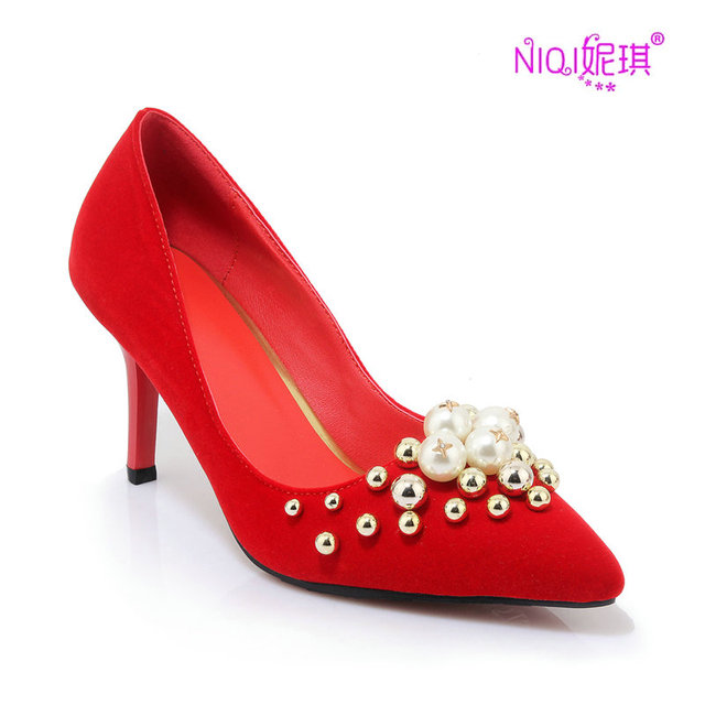 online store 29354 03da0 US $65.18 |NIQI Luxury Designer Brand Thin High Heels 10CM/8CM Red Soles  Rhinestone Bridal Pumps Sexy Pointed Toe Slip On Wedding Shoes-in Women's  ...