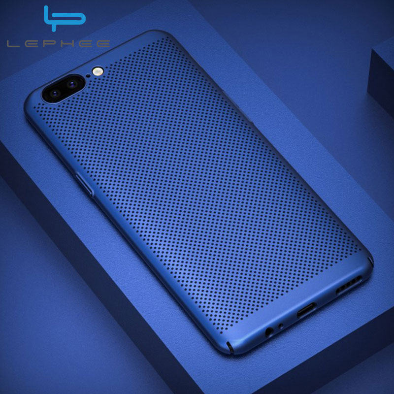LEPHEE Case For Oneplus 6 Cases Matte Hard PC Hollow Grid Breathable Back Cover For Oneplus 5t Case For One Plus 6 5T 5