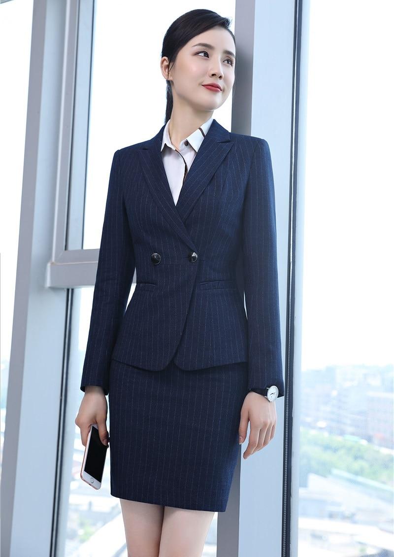Bleu Uniforme De Styles Blazer Formelle Ensembles Wear Work Et La Femmes Avec marine Bureau Rayé Noir Veste Jupe Costumes Conceptions Dames D'affaires dBT7xrBnH
