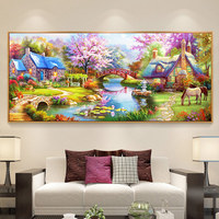 New Arrivals Farmhouse Decor Diy 5d Diamond Painting Full Drill Round flower Forest Cottage christmas Mosaic diamond embroidery