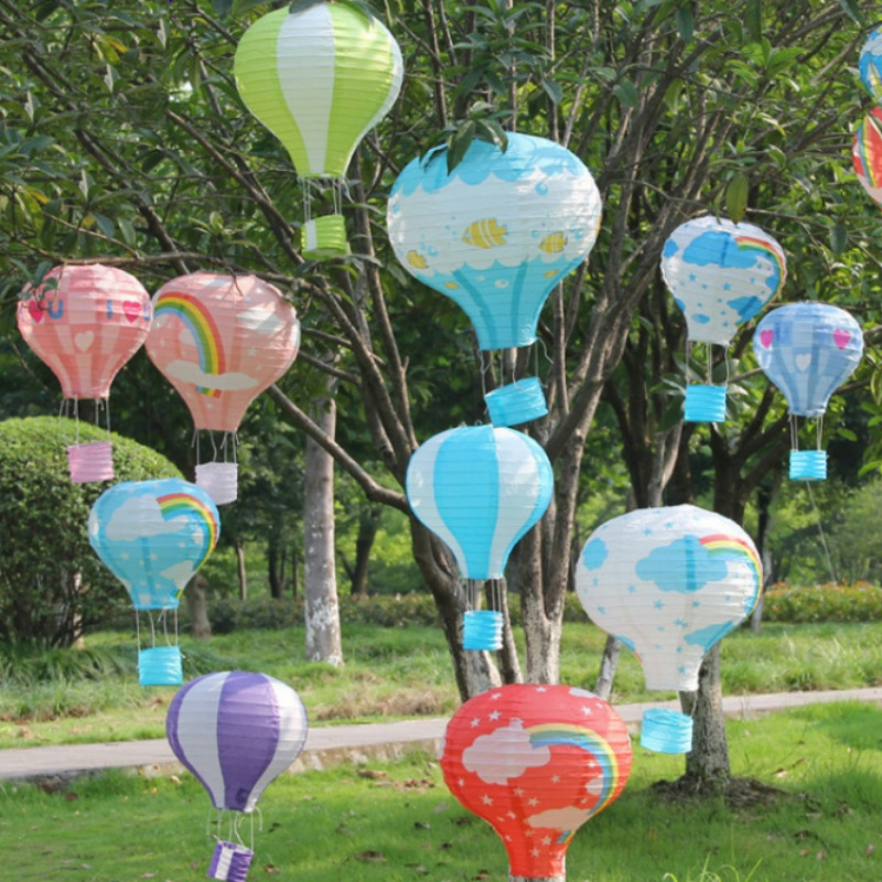 Paper Lanterns Wedding Decoration Ideas: Rainbow Printing Paper Lantern Hot Air Balloon Children's