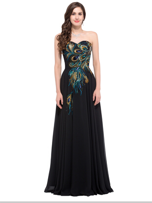Lace Up Embroidery Peacock Dress Plus Size Formal Evening Dresses