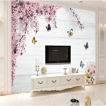 beibehang Custom photo wallpaper mural wall stickers romantic cherry butterfly wood board 3d background wall papel de parede romantic mediterranean style background wall professional production mural wholesale wallpaper mural poster photo wall