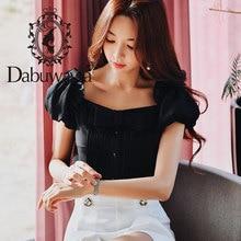 Top White Dabuwawa Office Lady Puff-Sleeve Vintage Blouse Square Collar Shirts Women
