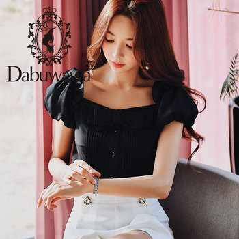 Dabuwawa Summer New Square Collar Bow Shirts Women Girls Office Lady  Puff Sleeve Vintage Blouse Top White Black DN1BST018