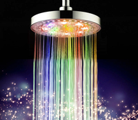 LED Water Faucet Stream 7 Colors Automatic Changing 8 Inch Roundness Bathroom LED Light Rain Top