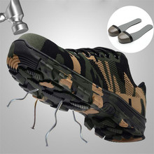 ELGEER Men Safety Work Boots Fashion Camouflage Breathable Mesh Steel Toe Casual Shoes Mens Labor Insurance Puncture Proof Shoes недорого