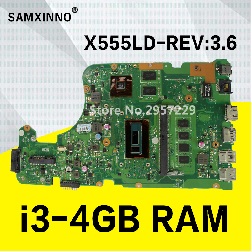 REV 3.6 X555LD Motherboard i3-4GB RAM GT840M 2GB for ASUS X555L X555LF F555LD X555LJ W519L Laptop Motherboard X555LD Mainboard for asus laptop motherboard x555ld x555l x555ld f555ld x555ln x555ldb rev 3 1 mainboard with i7 cpu gt840m 2g 100% tested