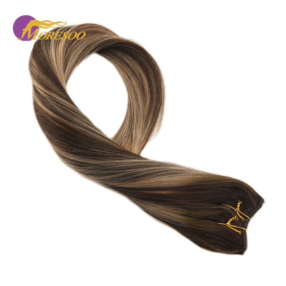 Moresoo Flip In Real Remy Human Hair Extensions Halo Invisible Hidden Secret Wire Balayage Color Brown #4 Mixes With #27 50-100G