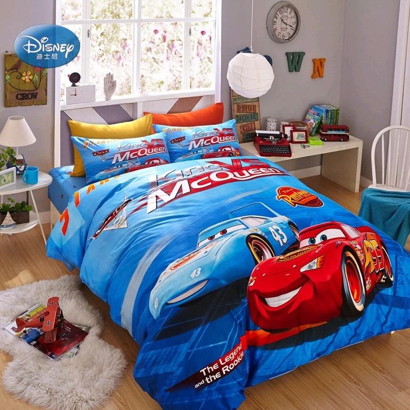 Discounts Disney Mc Queen Cars 3D Print Cotton Bedding Sets for Kids Boys Birthday Gift Duvet