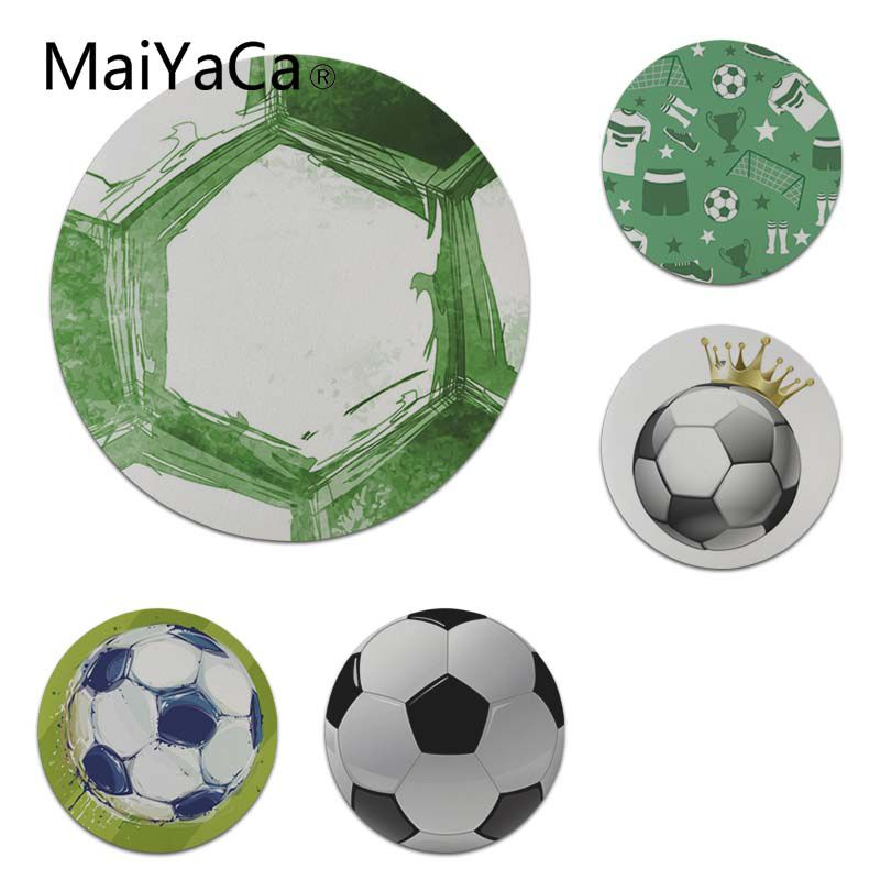MaiYaCa High Quality Green Football Round Mouse pad PC Computer mat Size for 200x200x2mm and 220x220x2mm Cool Mouse Pads