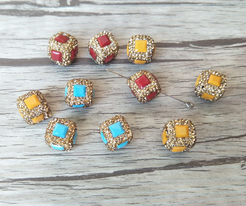 Have An Inquiring Mind 10 Cube Square Spacer Beads,pave Gold Rhinestone Faceted Stone Connector For Diy Making Bracelet Necklace Jewelry Finding Bd233 Complete In Specifications Beads