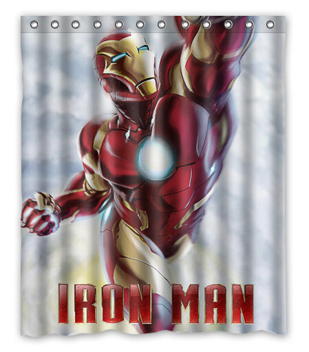 Iron Man Printed 100 Polyester Custom Shower Curtain