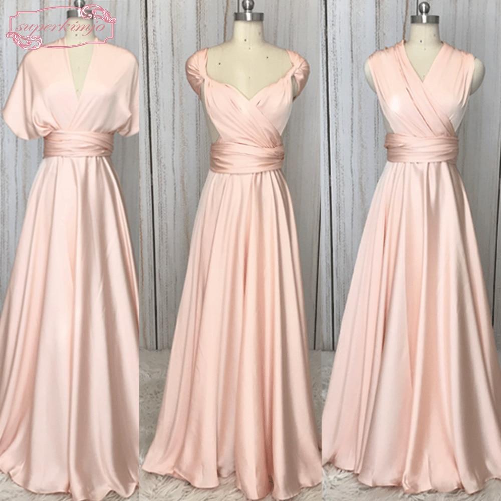 Real Bridesmaid Dresses Convertible A Line Pink Dress Cheap 2019