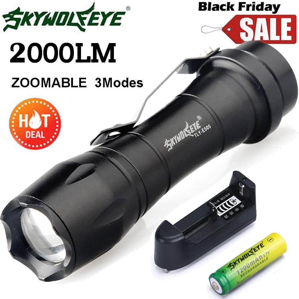 skywolfeye skywolfeye Zoom Q5 Mini LED Flashlight Torch Light+14500 Battery+Charger L61219 lanterna DROP SHIP