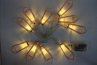 1 65M 10 LED Battery Operated Rose Gold Waterdrop Diamond Iron Frame Pendant String Lights Fairy