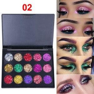 Image 4 - 15 farben Glitter Lidschatten Diamant Regenbogen Machen Up Kosmetische Gedrückt Glitters lidschatten Magnet Palette Make Up Set für Schönheit