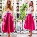 2016 Mulheres de Verão de Cintura Alta Saia Longa Sólida Uma Linha de Saia Plissada Saia Tutu Partido Vestido Saias Femininas Do Vintage Plus Size