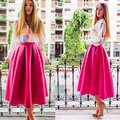 2016 Summer Women High Waist Long Skirt Solid A-line Pleated Skirt Vintage Tutu Skirt Party Gown Saias Femininas Plus Size