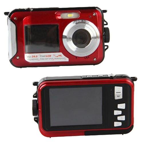 24MP DOUBLE SCREEN NUDERWATER DIGITAL VIDEO CAMERA HD 1080P 10M WATERPROOF RED