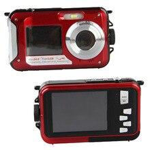 On sale 24MP DOUBLE SCREEN NUDERWATER DIGITAL VIDEO CAMERA HD 1080P 10M WATERPROOF RED